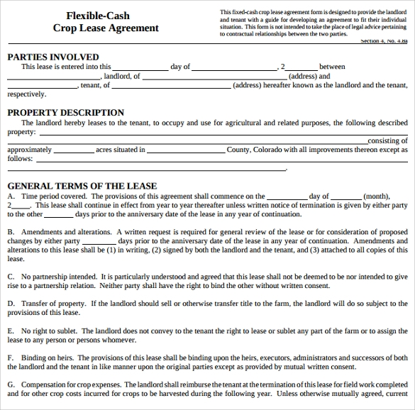 Pasture Lease Agreement Template   Download Free Documents In Pdf