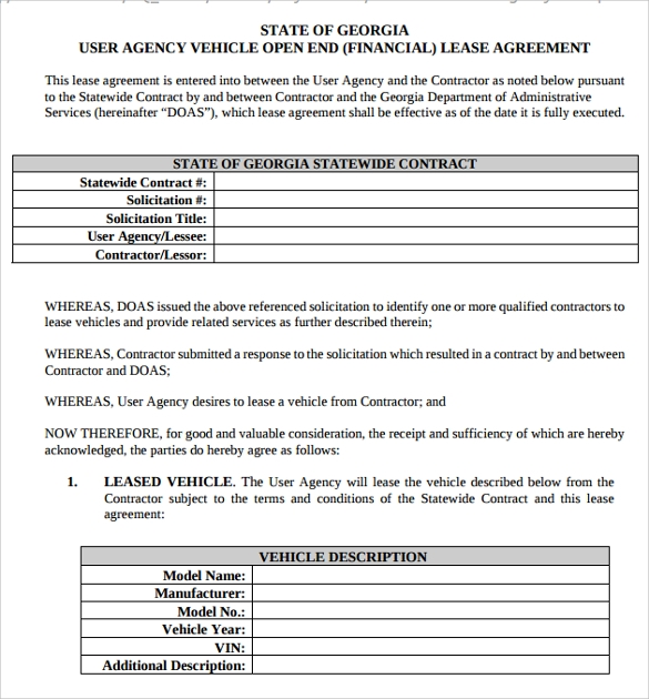 Sample Vehicle Lease Agreement Templates   Free Download