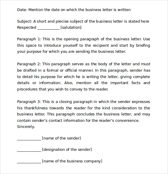 Proper Business Letter Format   Download Free Documents In Pdf  Word