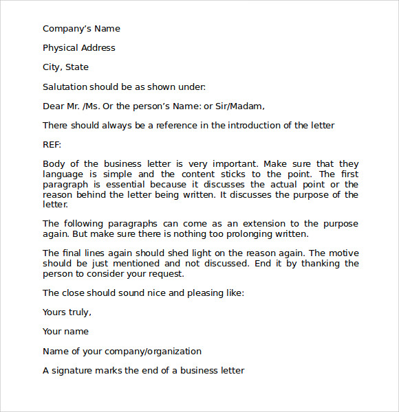 proper business letter template