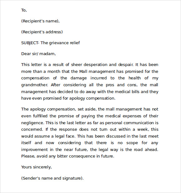 Standard Business Letter Format 8 Download Free