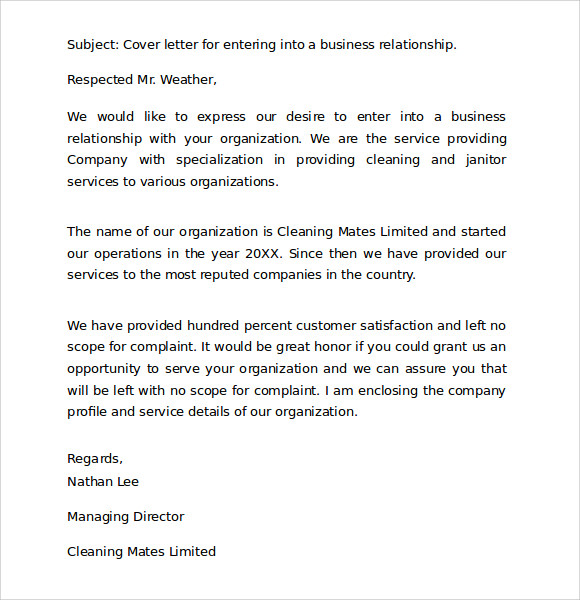 Business cover letter format example