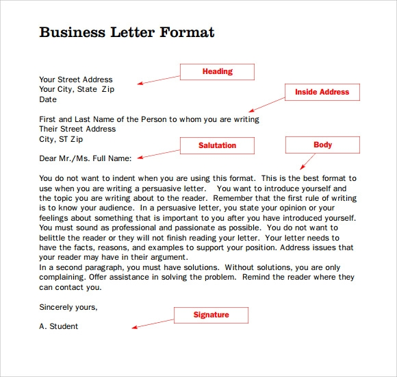 Standard Business Letter Format   Download Free Documents In
