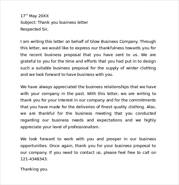 thank you for your business letter sample free