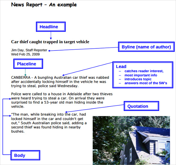newspaper report template