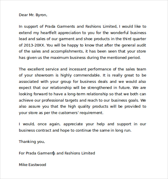 Sample Thank You For Your Business Letter   Documents In Pdf Word