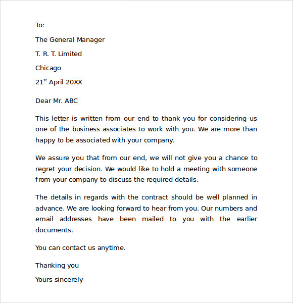 Captivating Free Thank You For Business Letter