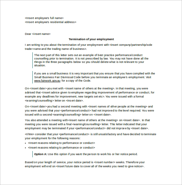letter of termination of employment word template free download