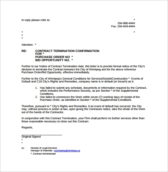 notice of default letter template - 8 sample letters of termination sample templates