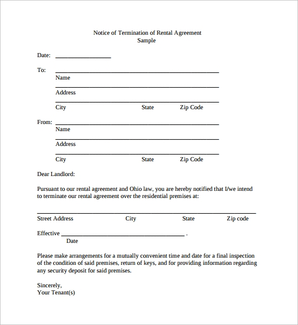 rental agreement letter of termination pdf free download