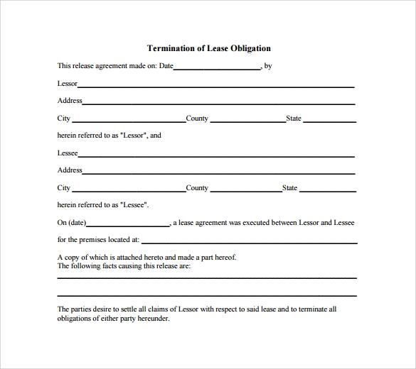termination of lease obligation