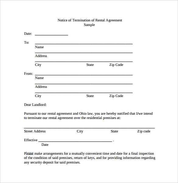 sample notice of termination of rental agreement - Notice Of Lease Termination