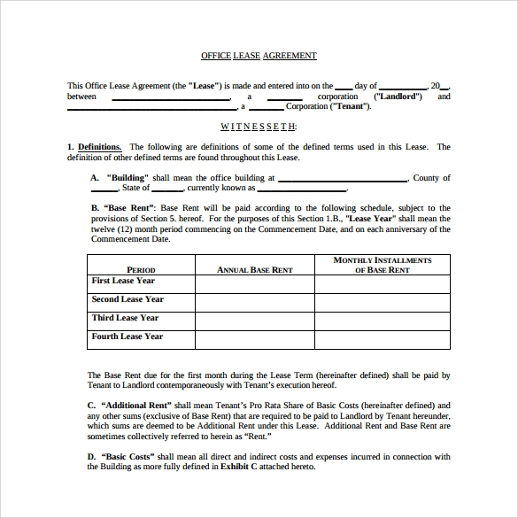 office lease agreement to download