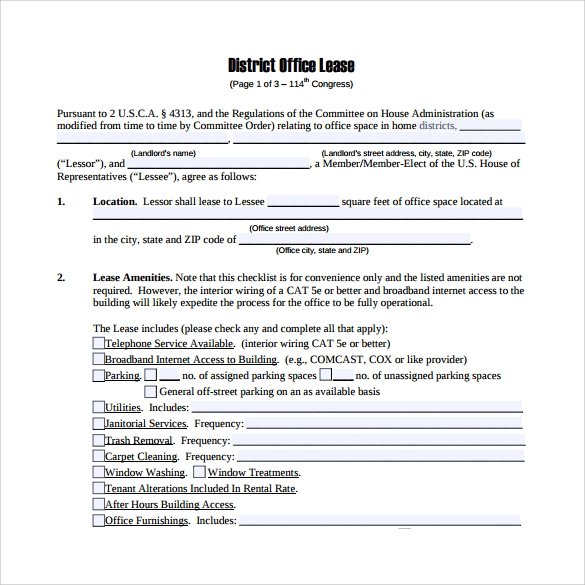 office lease agreement to print