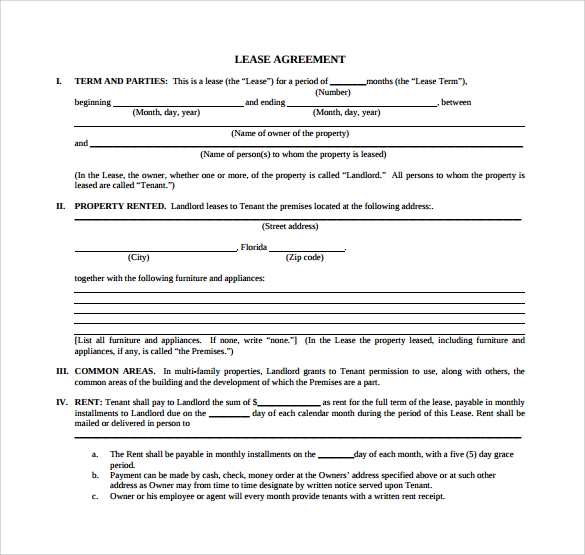 room lease agreement for free