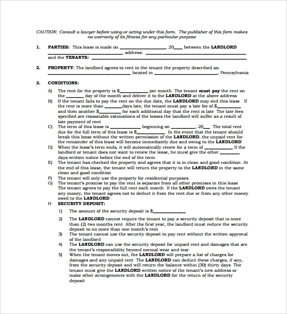 printable standard lease agreement