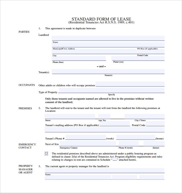 Standard Lease Agreement - 8+ Download Free Documents In Pdf