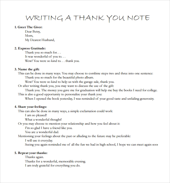writing a sample thank you note