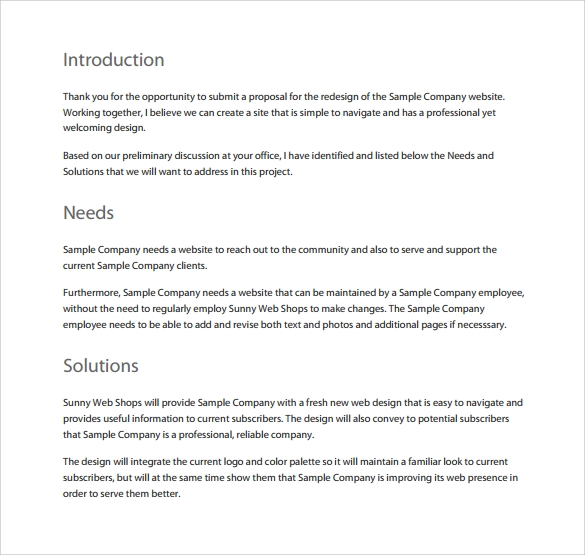 Sample Website Proposal Template   Free Documents In Pdf