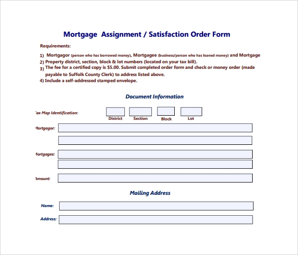 mortgage satisfaction order form%ef%bb%bf