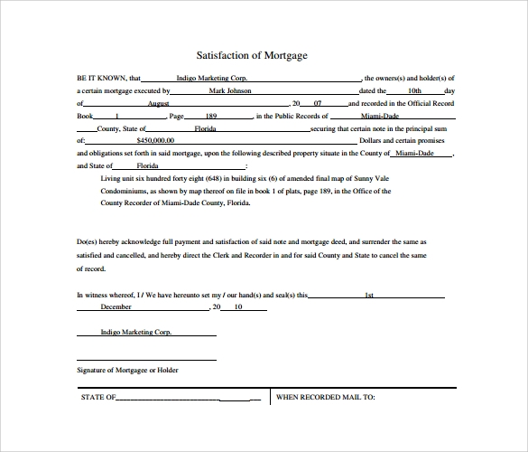 Sample Satisfaction Of Mortgage Form   Download Free Documents In