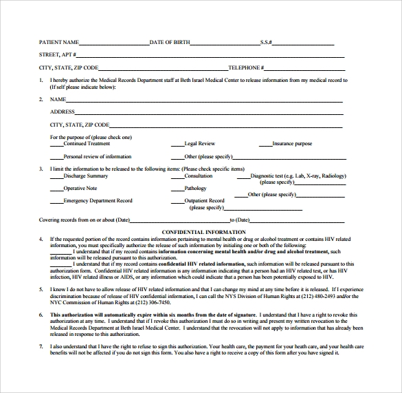 Generic Medical Records Release Form - 7+ Download Free Documents