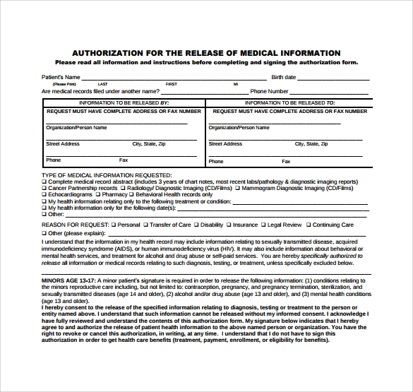 Generic Medical Records Release Form 7 Download Free Documents – Medical Records Release Forms