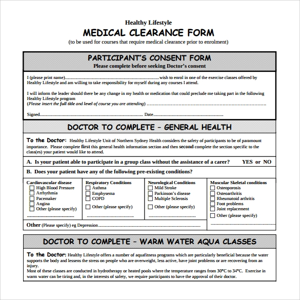 9 medical clearance form download for free