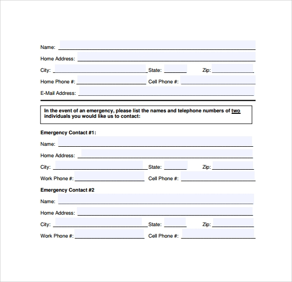 12 sample emergency contact forms to download sample templates. Black Bedroom Furniture Sets. Home Design Ideas