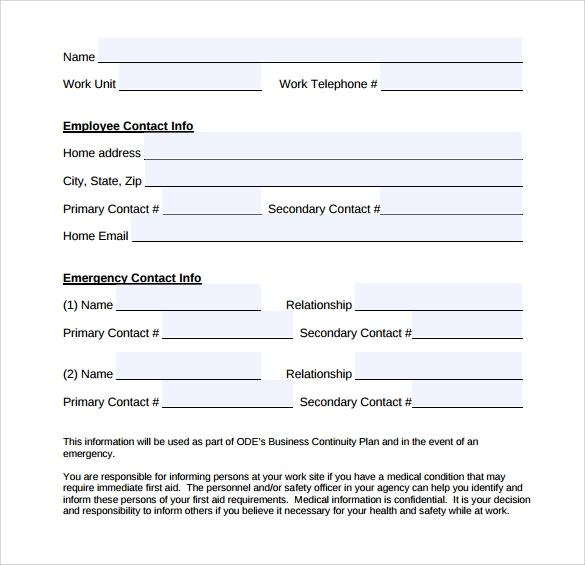 Emergency Contact Forms   Download Free Documents In Pdf  Word