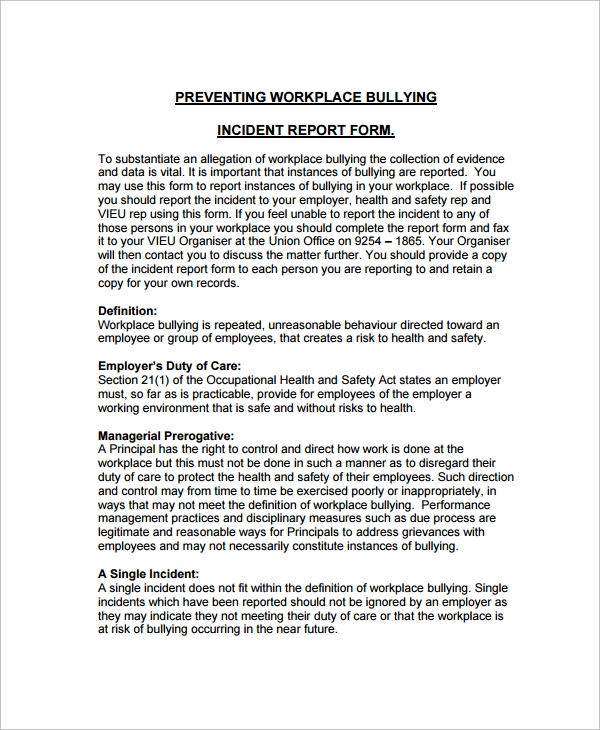 workplace bullying employee incident report template