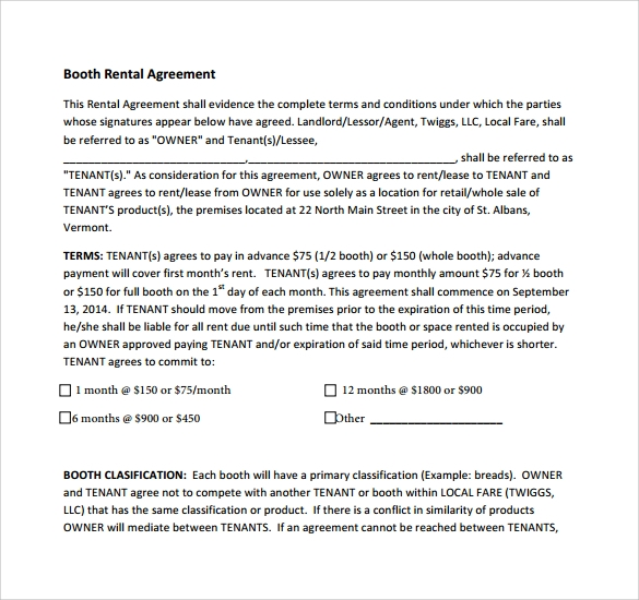 Booth Rental Agreement 9 Download Free Documents In Pdf
