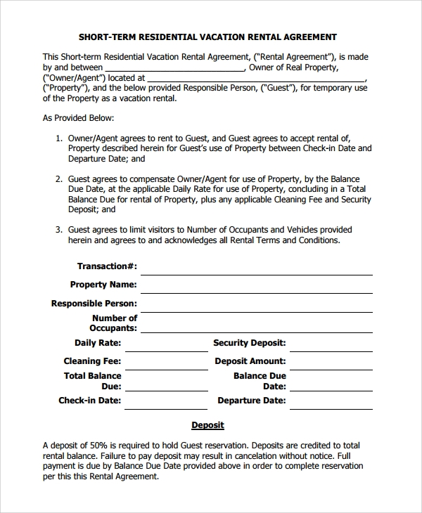 Sample Vacation Rental Agreement   Documents In Pdf Word