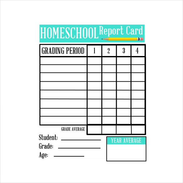 free report card template 6 sample homeschool report cards sample templates 21890