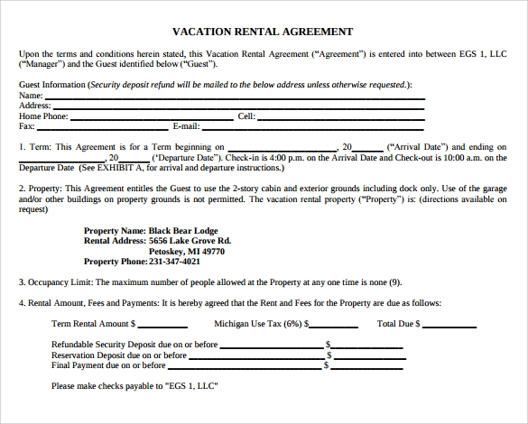 print vacation rental agreement