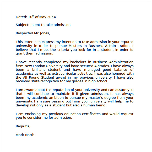 Letter Of Intent Graduate School  Download Documents Template Of A