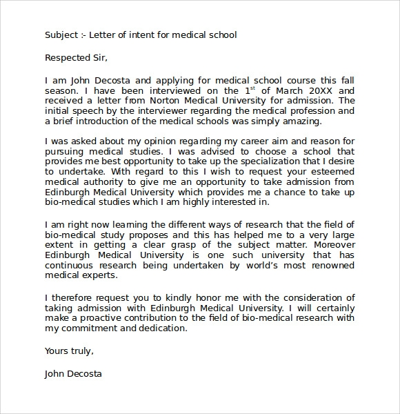 Letter Of Intent Medical School 7 Download Free