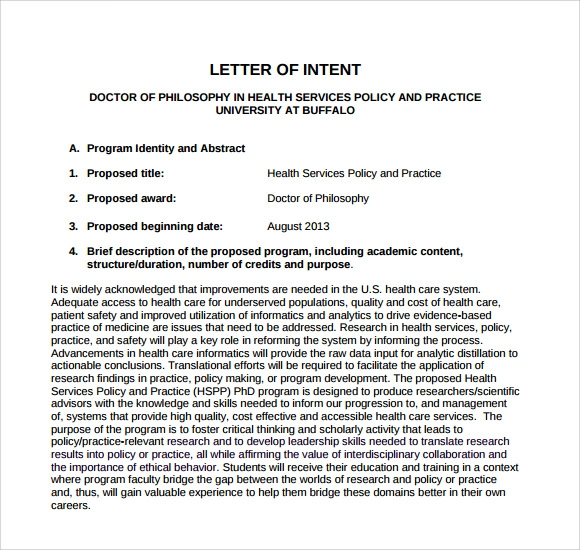 free letter of intent medical school