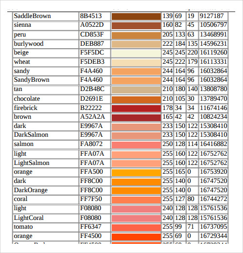Sample Rgb Color Chart Rgb Color Codes Chart Rgb Color Chart Free