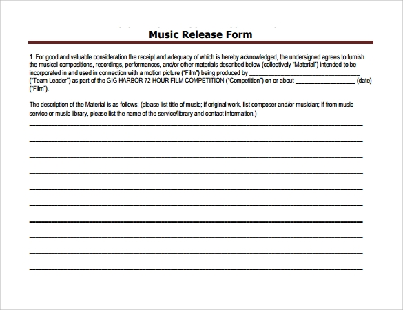 music release form