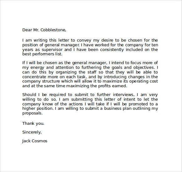 Employee Letter Of Intent from images.sampletemplates.com