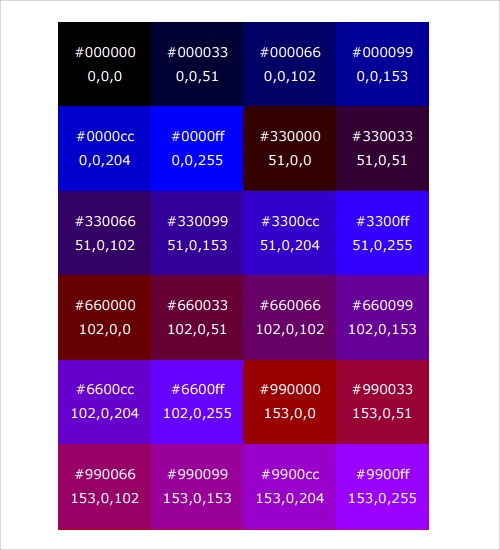 html color code chart download