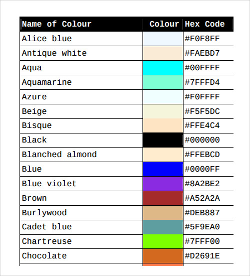 Sample Color Chart Template 25 Free Documents in PDF Word – Sample Html Color Code Chart