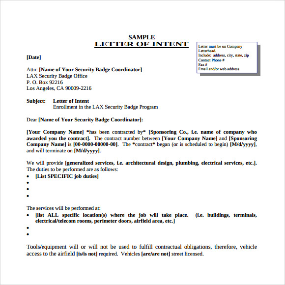 Job Letter Of Intent Template  Free Letter Of Intent Sample