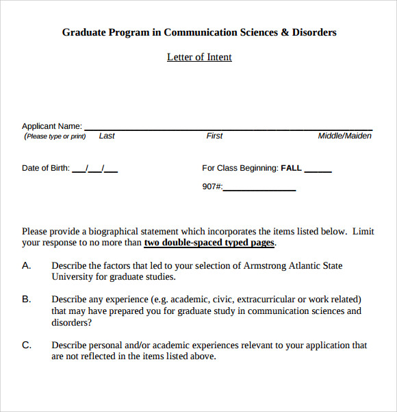 Letter of intent graduate school sample