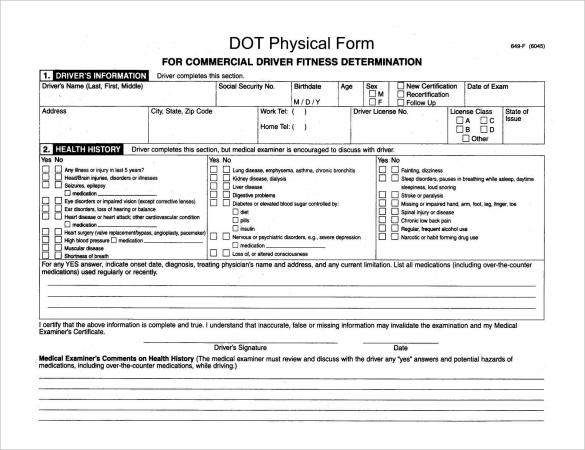 Dot Physical Forms. Dot Physical Application Form Sample Dot
