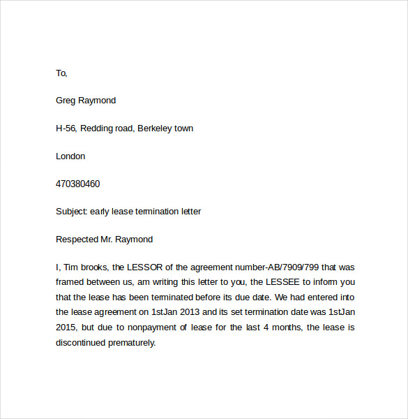 Early Lease Termination Letters 9 Download Free Documents in – Lease Termination Letter Format
