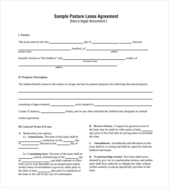 Sample Pasture Lease Agreement Templates 7 Free Documents in PDF – Sample Land Lease Agreement Templates