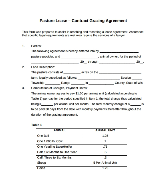 Sample Pasture Lease Agreement Templates   Free Documents In Pdf
