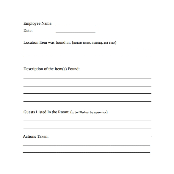 Sample Employee Incident Report Template - 10+ Free Documents ...